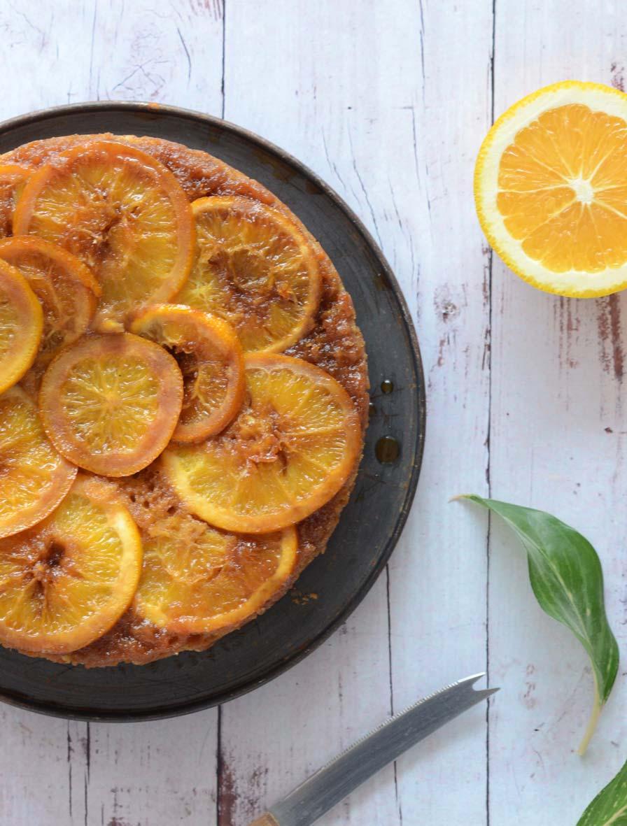 עוגת תפוזים טבעונית הפוכה