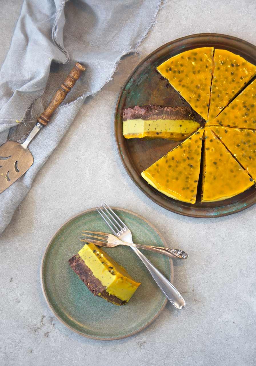 עוגת מוס פסיפלורה טבעונית