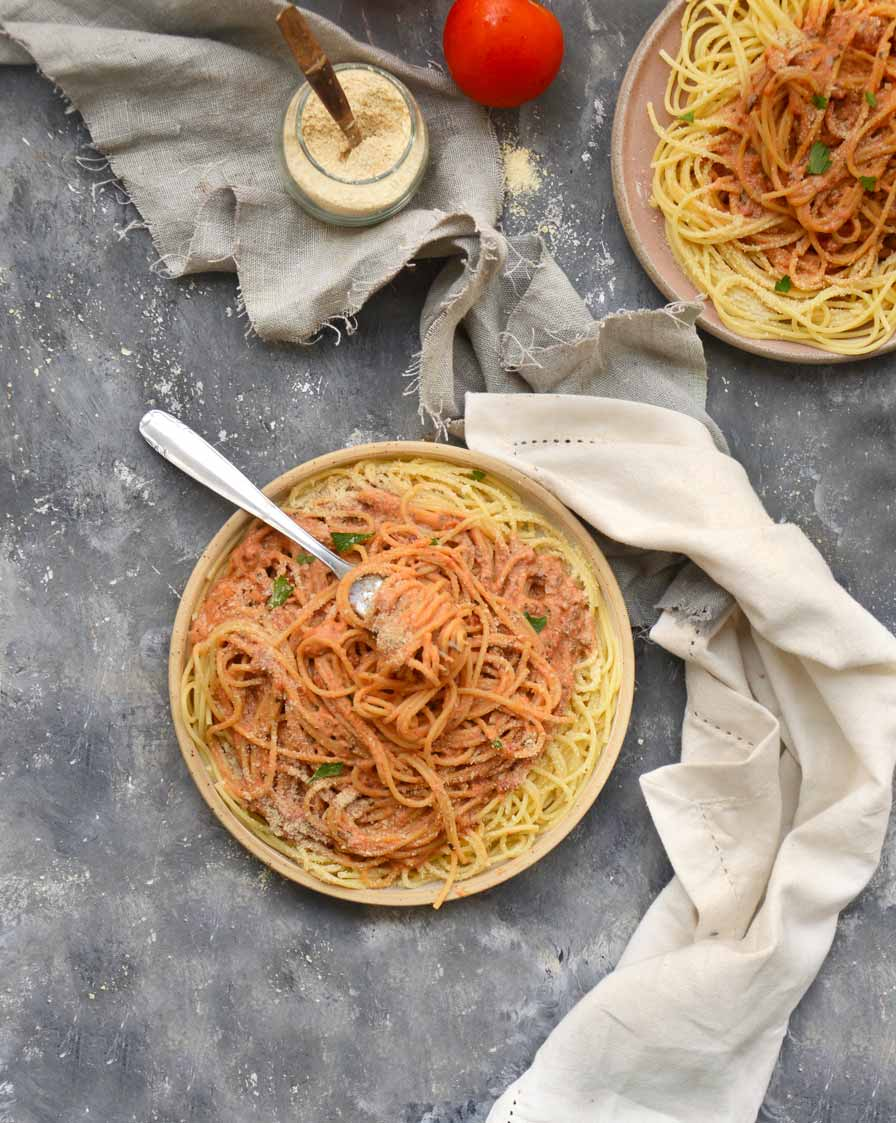 ספגטי ברוטב רוזה טבעוני